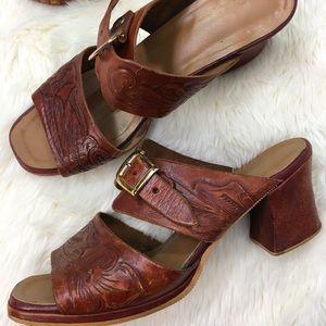 Vintage Tooled Leather Slide Heels 8